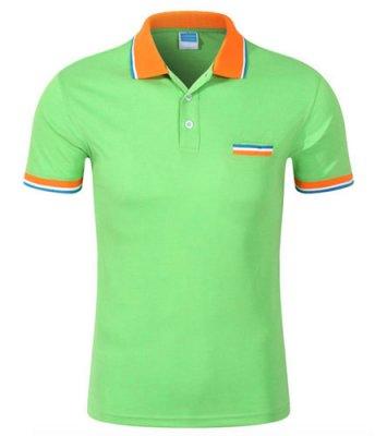 绿色纯棉翻领短袖t恤衫