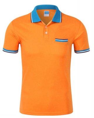 橙色翻领T恤衫订做,企业工衣T