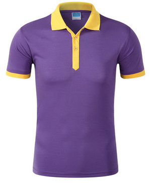 紫色款拼色领T恤衫定做款式图