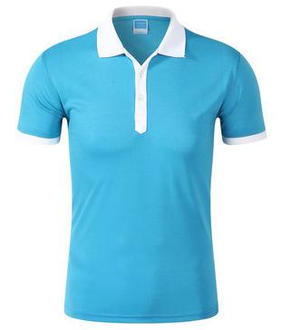 天蓝色拼白色翻领T恤衫