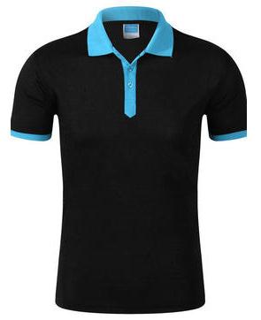 黑色拼蓝色工作服T恤衫