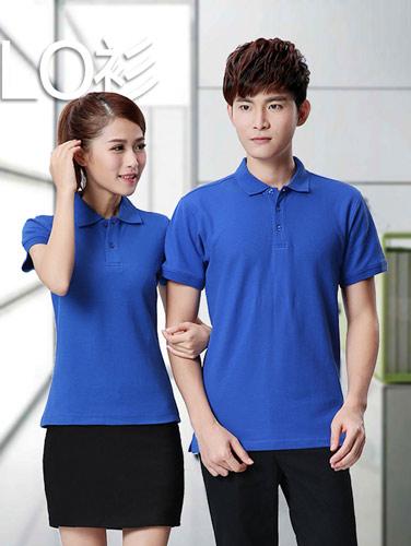 蓝色纯棉短袖T恤衫订做款式