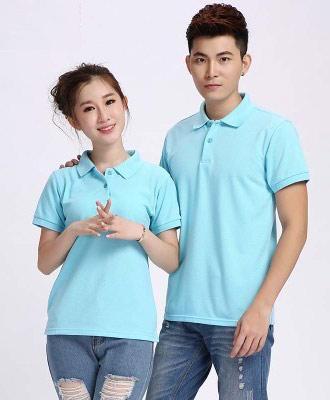天蓝色短袖T恤衫订做款式