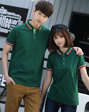 质感墨绿色POLO衫定做款式