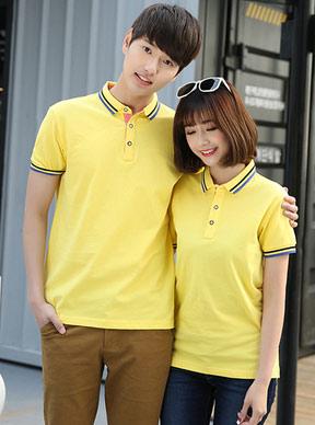 黄色短袖POLO衫定做款式