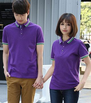 紫色短袖POLO衫定做款式