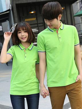 果绿色餐饮工作服短袖POLO衫订