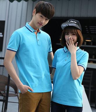 浅蓝色短袖POLO衫工衣定做款式