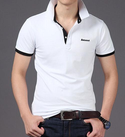 白色精棉高档POLO衫定做款式