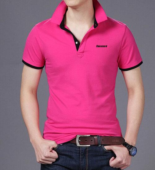 玫红色POLO衫订做款式