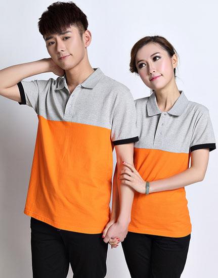 时尚拼色短袖t恤工作服