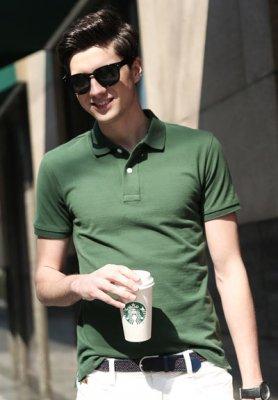 纯墨绿色高档POLO衫,T恤
