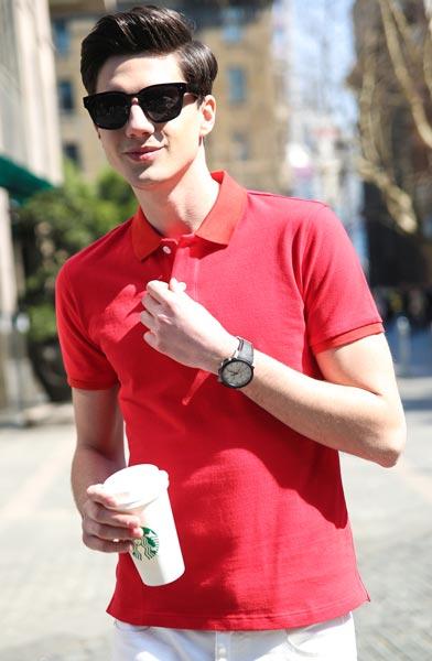 红色高端POLO衫/T恤衫定做款式