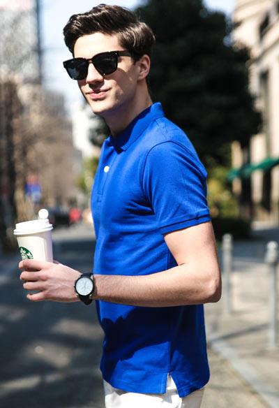 纯蓝色高档POLO衫/T恤衫