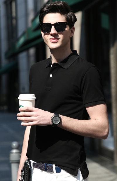 高档纯黑色T恤,POLO衫订做款式