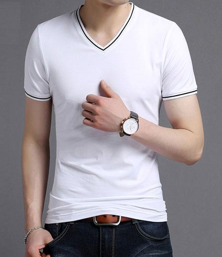 时尚白色V领T恤衫定制的优点