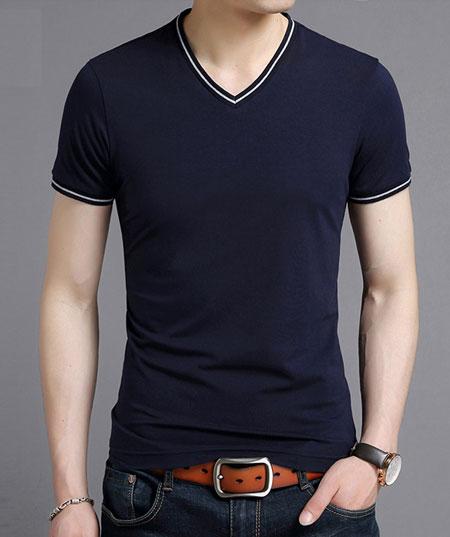 高档藏青色V领T恤定做款式模版