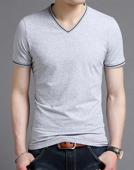 花灰色V领T恤定制防止变形