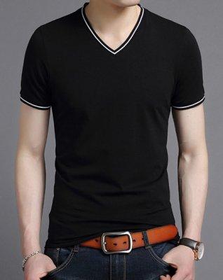 <b>纯黑色V领T恤衫定制影显气</b>