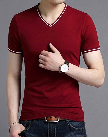 <b>红色V领T恤衫定制款式图片</b>