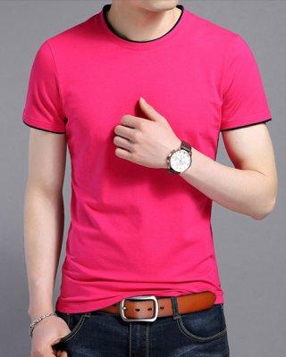 短袖圆领T恤衫定做,玫红嵌黑边款