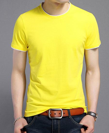 黄色嵌白边短袖圆领T恤