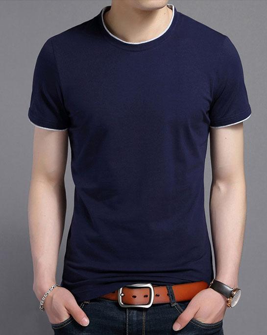 藏青色短袖圆领T恤衫订