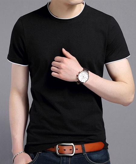黑色嵌白边短袖圆领T恤衫定做