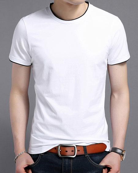 白色嵌黑边短袖圆领T恤