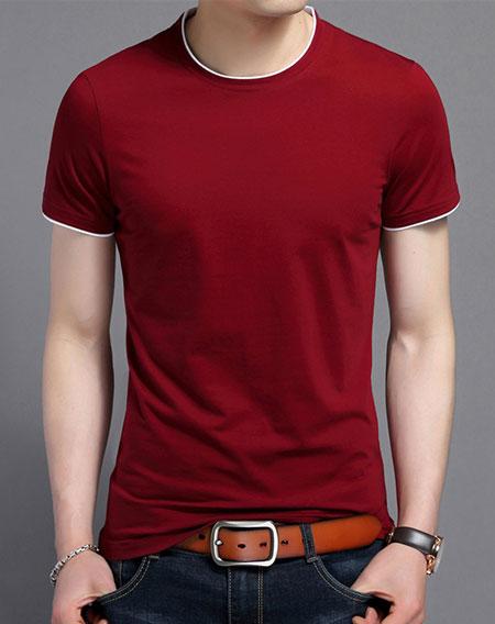 定做圆领文化衫红色嵌白