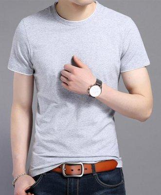 花灰色嵌白边定做圆领文化衫款式价格