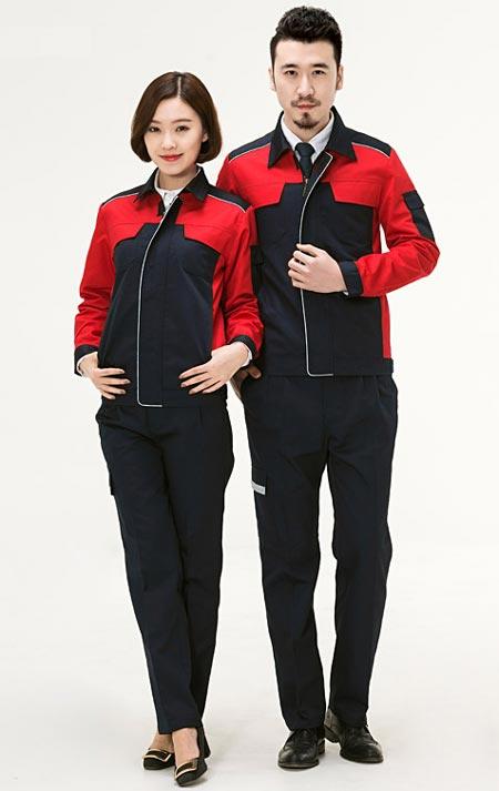 <b>龙华订做工作服_红黑色搭配款式图</b>
