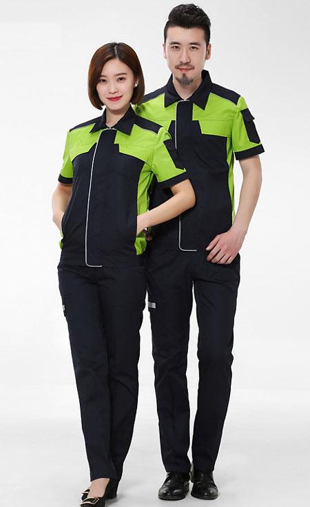绿色工衣订做厂家款式模板图