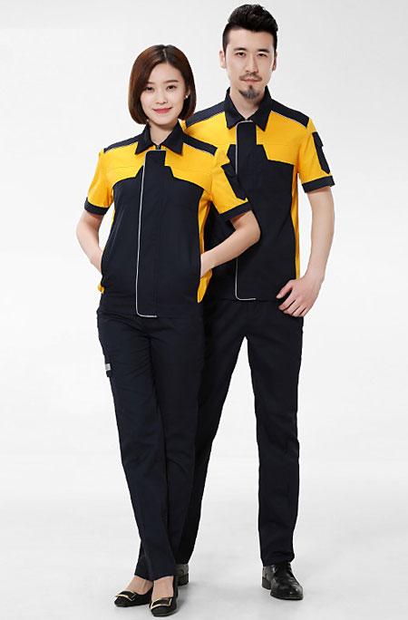 黄色短袖定做工衣款式模板图