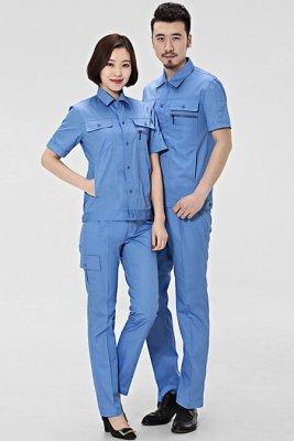 天蓝色短袖夹克工衣订做款式