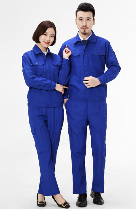 蓝色长袖工作服定做款式图