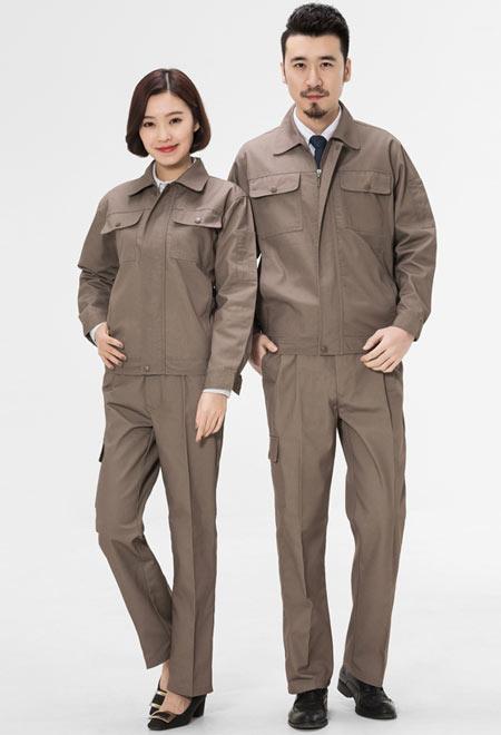 卡其色长袖夹克工作服订做款式