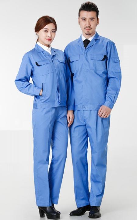 浅蓝色春秋工作服外套定做款式