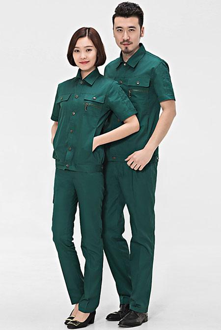 墨绿色夏装工衣定做款式