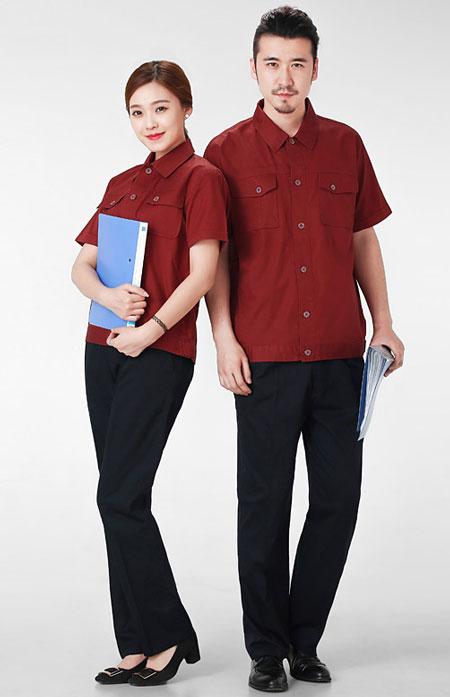 红色夹克工衣订制款式模板图
