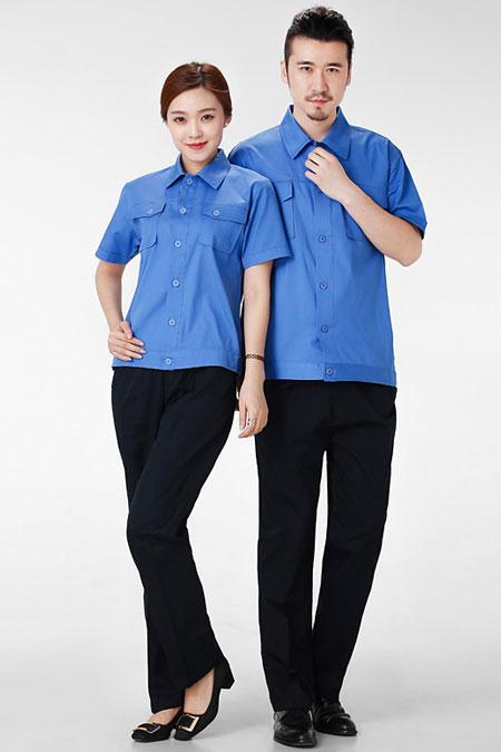蓝色夹克短袖工衣厂服订做款式图