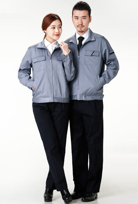 中灰色长袖夹克工作服订