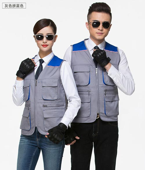 多口袋灰蓝拼色摄影马甲