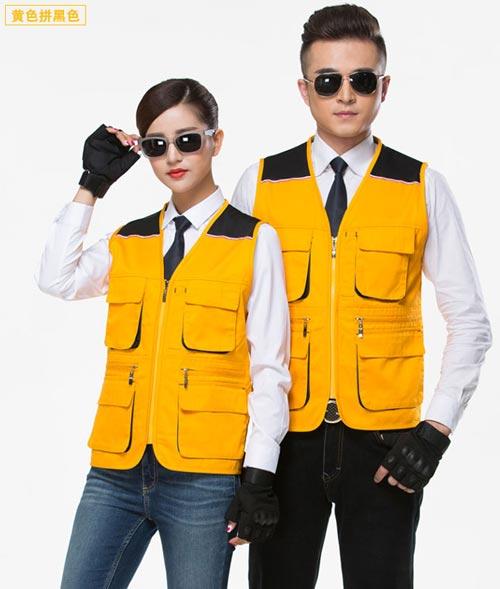 黄黑拼色款多口袋工作服马甲定制款式