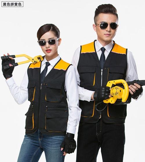 黑黄色多口袋拉链款工衣马甲定