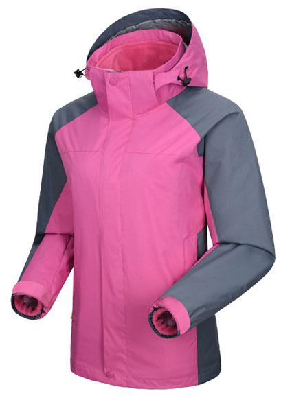 紫色冲锋衣工作服定制款式图