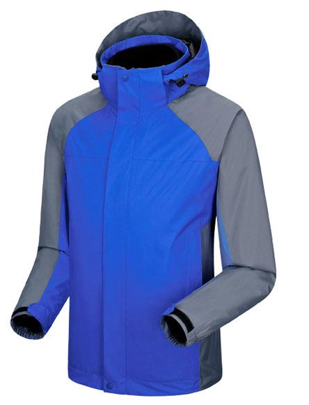 彩蓝色冲锋衣定做款式图