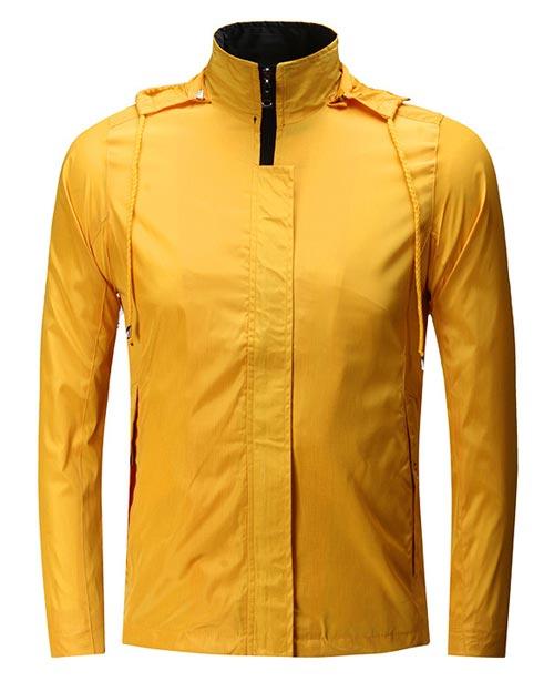 黄色连帽广告风衣外套定做款式