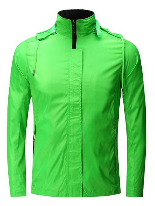 <b>带帽绿色风衣工服外套定制款式</b>