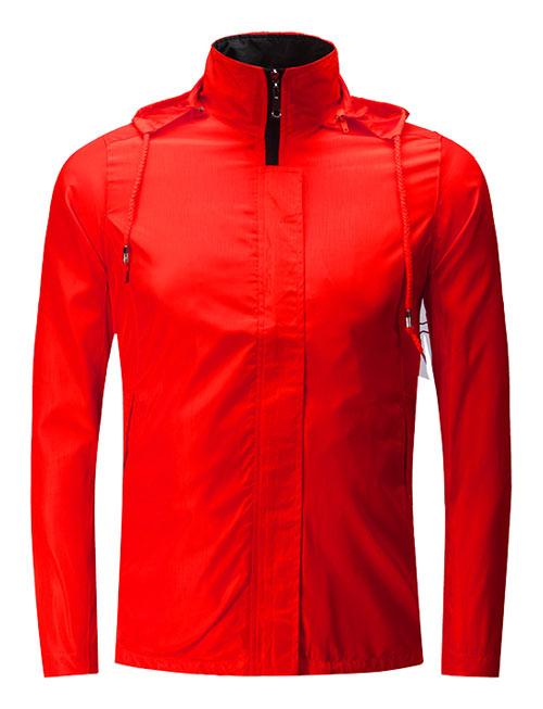 大红色促销风衣工服订制款式图
